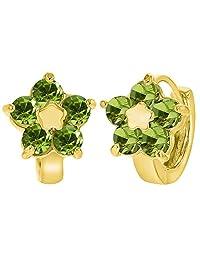 """18k Gold Plated Green Crystal Flower Huggie Hoop Earrings 0.47"""""""