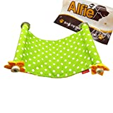 Alfie Pet by Petoga Couture - Barret Hanging Platform for Small Animals like Guinea Pig and Rabbit - Pattern: Green Dot, Size: L