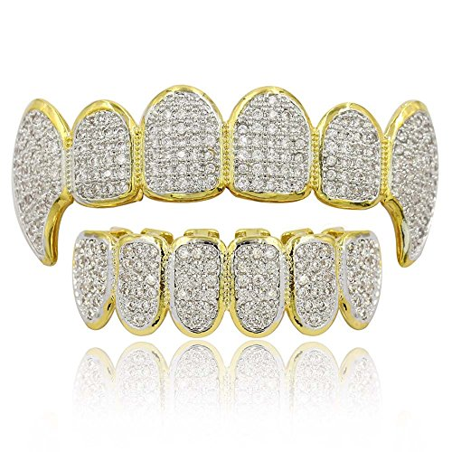 Diamond Gold Tone Grillz - JINAO 18k Gold-Tone All Iced Out Luxury Rhinestone Hip Hop Bling Vampire Fangs Gold Grillz Set with Extra Molding Bars Included (Vampire Gold Set)