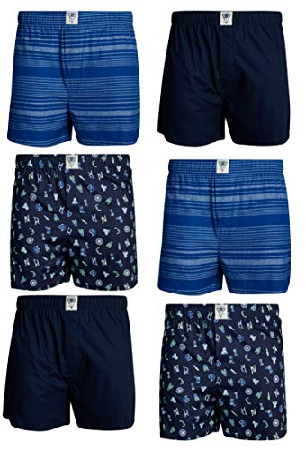 Boxer Brands Clothing - Lucky Brand Men's Woven Cotton Boxer with Functional Fly (6 Pack), Blue Print/Navy/Stripes, Size X-Large'