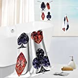 luxury towel set Shaped Cards Poker Face Luxury Fortune Symbols Sapphireative Dark Blue Red Odor Resistant - Moisture Wicking 19.7''x19.7''-13.8''x27.6''-31.5''x63''