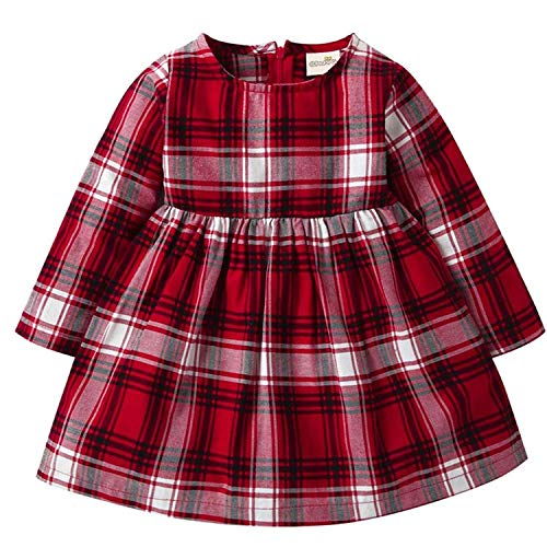 Toddler Baby Girls Outfit Long Sleeve Red Gradient Plaid Dress (Red, 6-12 Months)