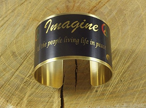 John Lennon Jewelry (John Lennon Imagine Theme Image Cuff Brass Bracelet Handmade Adjustable in Gift Box)
