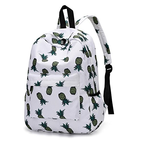 VIASA Fresh Style Women Backpacks Pineapple Fashion Print Bookbags Female Travel Backpack (B)