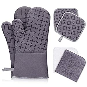 IXO 6Pcs Oven Mitts and Pot Holders, 500℉ Heat Resistant Oven Mitts with Kitchen Towels Soft Cotton Lining and Non-Slip Surface Safe for Baking, Cooking, BBQ (Black)