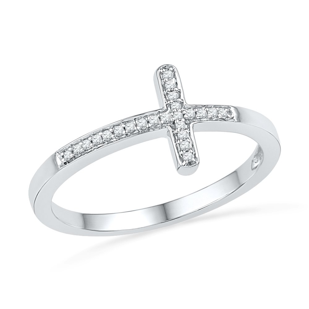 Sterling Silver Round Diamond Cross Ring (0.06 CTTW)