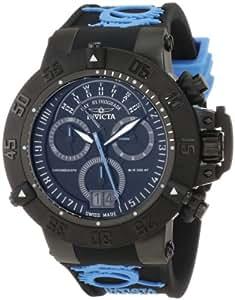 Invicta Men's 10189 Subaqua Noma III Chronograph Black Dial Black and Light Blue Silicone Watch