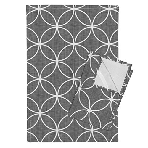 Roostery Circles Tea Towels Geometric Circle Lock ~ Playground Kicks Trellis Mid Century Faux Linen Circle Locks Gray by Peacoquettedesigns Set of 2 Linen Cotton Tea Towels