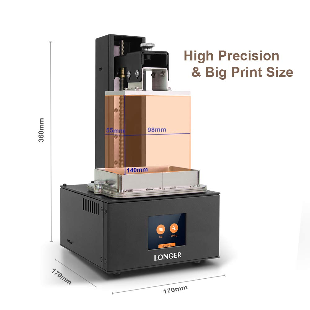Longer UV LCD 3D Printer Orange 10,SLA Resin 3D Printer with 2.8-inch Full Color Touch Screen Off-line Printing Build Size 3.86 x 2.17x 5.5 inch