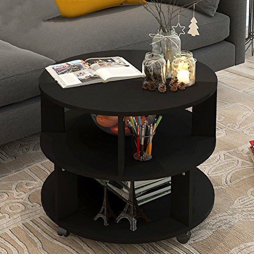 - D&L Nordic Round Three Floors Side Table, Solid Wood with Wheels End Table Sofa Table Telephone Table Coffee Table Storage Rack-Black W60xH48cm