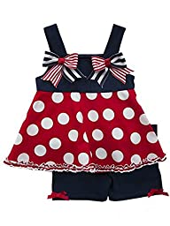 Rare Editions Little Girls 4th of July Dots & Stripes Tunic & Short Set 2T