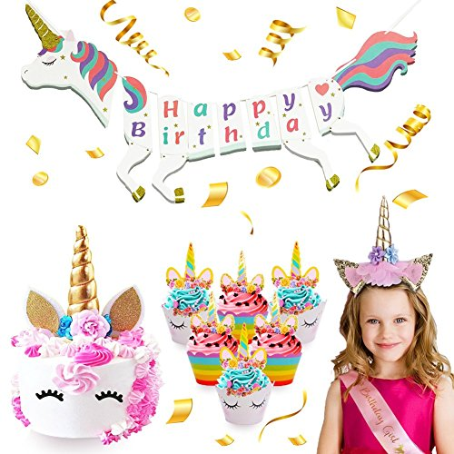 Unicorn Party Supplies Set - Unicorn Happy Birthday Banner, Cupcake Toppers with Wrappers, Unicorn Horn Cake Topper, Unicorn Horn Headband, Pink Girl Sash, Party Decorations Pack for Kids Birthday -