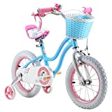 """ROYAL BABY STAR GIRL PRINCESS GIRL'S KIDS BIKE, IN SIZE 12"""" 14"""" 16"""" COLOUR ROSE AND BLUE + free heavy duty adjustable removable stabilisers+ front basket"""
