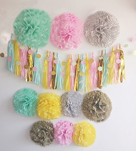 HOMEDA 32 PCs Assorted Colors DIY Garland Kit for Baby shower Wedding Birthday Party Decorations Paper Tassel Garland Tissue pom poms (Party City Melbourne)