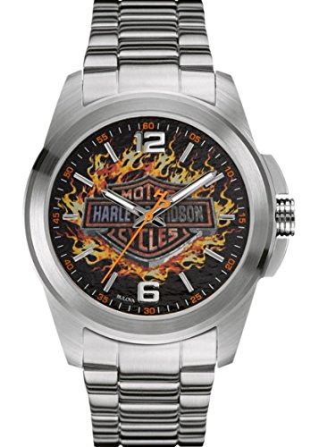 Harley-Davidson Men's Bulova Watch, Frames Bar & Shield, Stainless Steel 76A147