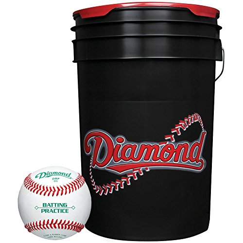 - Diamond 6-Gallon Ball Bucket with 30 DBP Baseballs, Black