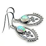 'Inner Fire' Sterling Silver Ethiopian Opal Dangle Earrings