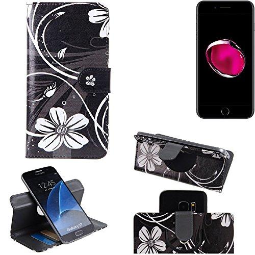 Apple iPhone 7 Plus 360° Wallet Case Schutz Hülle ''Flowers''   Smartphone Flip cover Flipstyle Tasche Standfunktion innovativer Kameraschutz - K-S-Trade (TM) (Wir zahlen Steuern in Deutschland!)