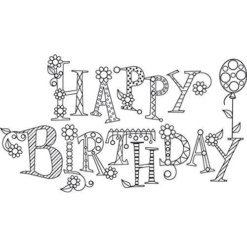 (Hampton Art PS0638 Outline Design Sparkle Happy Birthday Rubber)