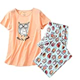 ENJOYNIGHT Women's Sleepwear Tops with Capri Pants Pajama Sets (Large, Owl2)