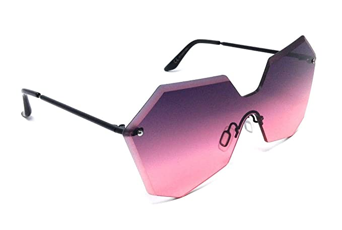 b59e081371 Amazon.com: Oversized Womens Laser Cut Rimless One Piece Shield ...