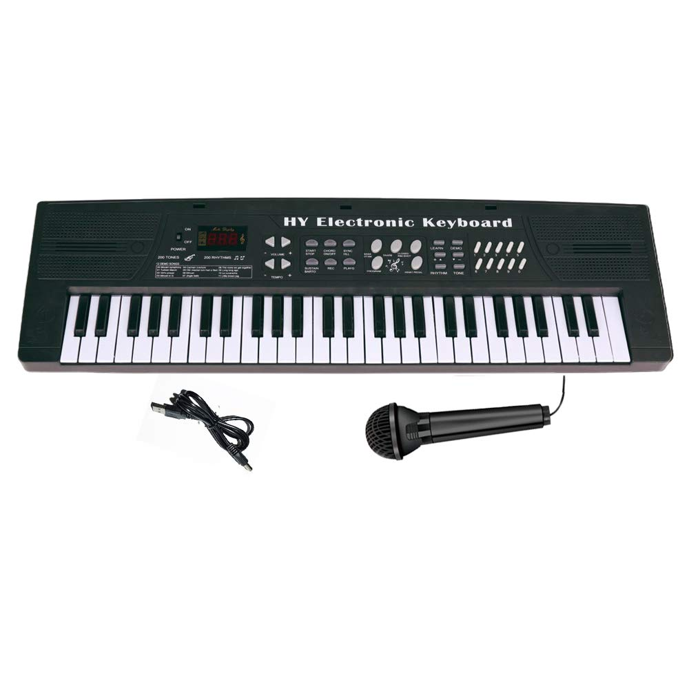 Keyboard Piano for Kids Fresh Household Kids Piano 54 Keys Electronic Musical Instrument with Microphone and MP3 Input for Christmas Birthday Gift - Black