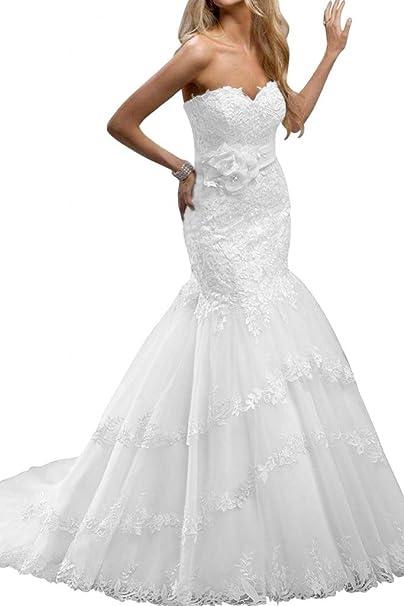 Gorgeous Novia de tul largo, diseño de sirena novia novia fiesta vendaje encaje Blanco blanco