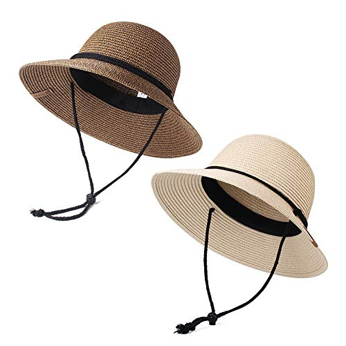 - Womens Wide Brim Sun Hat with Wind Lanyard UPF Summer Sun Straw Hats for Women