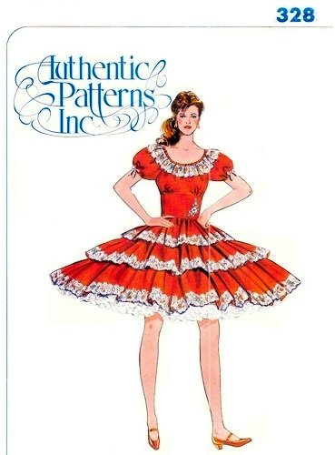 Authentic Pattern Square Dance Dress Sewing Pattern 328 Misses Size 5-7-9 ()