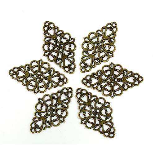 Filigree Flower Plate Charms, JIALEEY 40pcs Hollowed-Out Rhombic Pendant Connector for DIY Jewelry Making Wrapping Accessories(Bronze Tone) ()