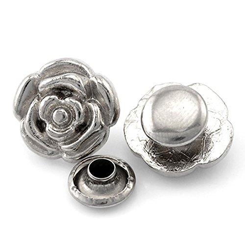 Silver 4 Mm Flower (Housweety 30 Sets Silver Tone Flower Spike Rivet Studs Spots 13x12mm 8x4mm)