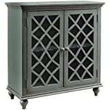 Ashley Furniture Signature Design - Mirimyn 2-Door Accent Cabinet - Antique Gray Finish - Glass Inlay Doors