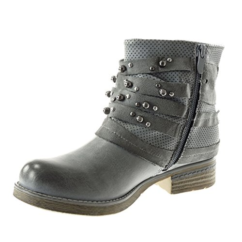 Angkorly Women's Fashion Shoes Ankle Boots - Booty - Biker - Cavalier - Studded - Perforated - Line Block Heel 3 cm Blue tGTDI97AuV