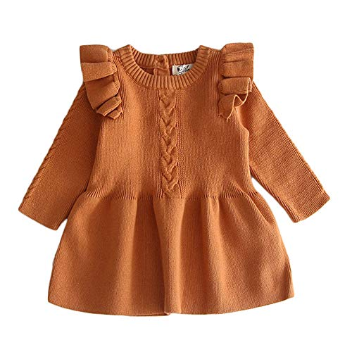 Toddler Baby Girl Knit Sweater Dress Cute Kids Solid Ruffle Long Sleeve Dresses Top Fall Winter Warm Outfits Clothes