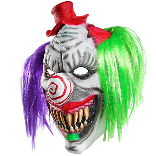 Halloween Horrific Demon Adult Scary Clown Masks Cosplay Props(Red Hat Clown)