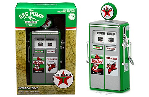 New 1 18 Greenlight Gulf Oil Collection   Vintage Gas Pumps Series 2   Green 1954 Tokheim 350 Twin Pump   Sky Chief Fire Chief   Standard Oil Replica By Greenlight