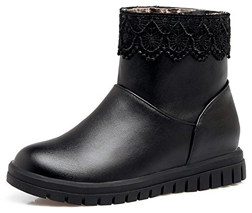 Women's Booties Pull Comfy Toe Low Ankle On Heel Black Round IDIFU Wedge gqaWvdcfwg