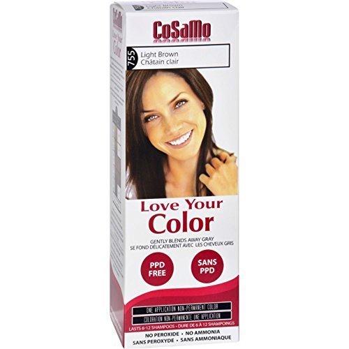 Cosamo Love Your Color, No Ammonia, No Peroxide Hair Color, #755 Light Brown (Pack of 6) (No Ammonia No Peroxide No Ppd Hair Color)