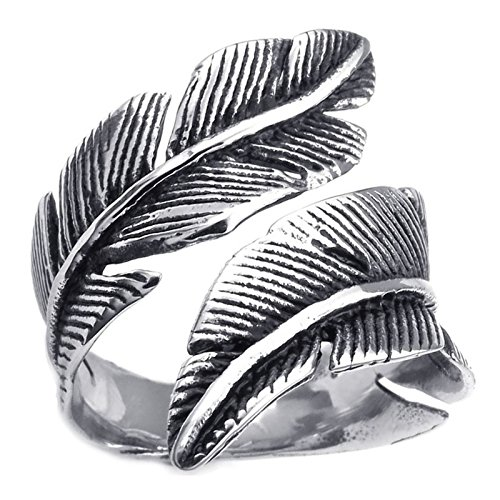 Silver Rings Ebay (Aokarry Stainless Steel Rings for Men Women, Vintage Feather, Black Silver 21MM Size 7)
