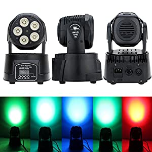 Lixada 75W DMX512 Moving Head Stage Light 5 LED RGBWY Sound Control Auto Rotating 10/15 Channels 4 Modes Colors Changing Wash Lamp for Disco DJ KTV Club Party Ballroom