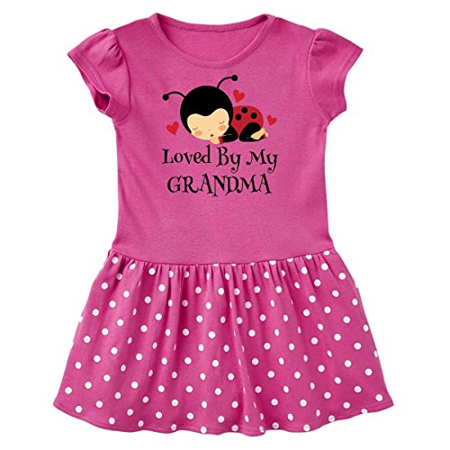 inktastic - Loved by Infant Dress 6 Months Raspberry with Polka Dots 20eda