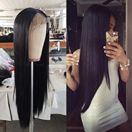 QD-Tizer Black Color Long Hair Synthetic Lace Front Wig Glueless Silky Straight Hair Wig for Fashion Women 20Inch