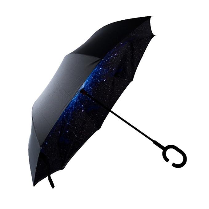 Stick paraguas, Pyrus sol paraguas mango doble capa gancho lluvia paraguas