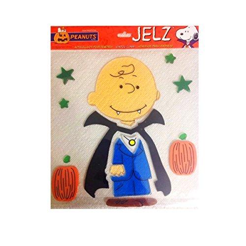 Spooky Jelz Charlie Brown Dressed as Vampire Halloween Gel Window Cling Set of 7]()