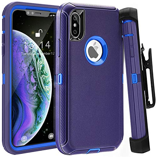 iPhone X Case,iPhone X Belt Clip Case FOGEEK iPhone X Heavy Duty Kickstand Cover [Support Wireless Charging] [Dust-Proof] [Shockproof]  PC+TPU for iPhone X 5.8 inch (Deep blue)