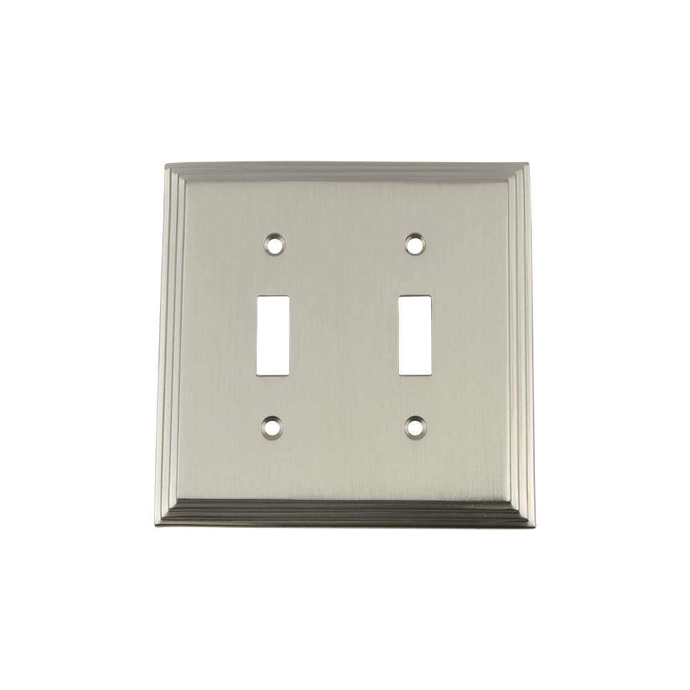 Nostalgic Warehouse 719735 Deco Switch Plate with Double Toggle Antique Brass