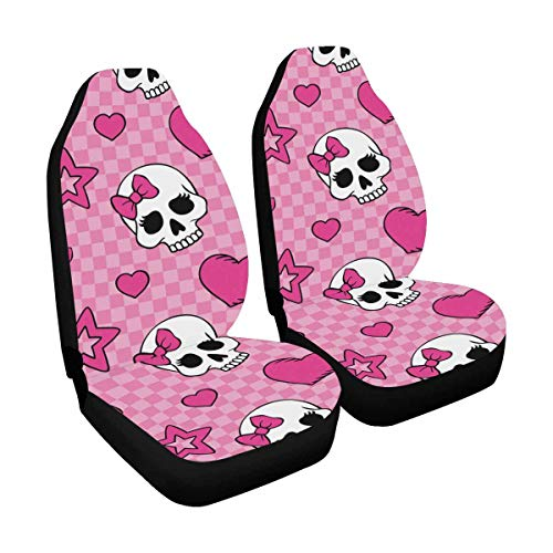 (INTERESTPRINT Hearts and Skulls on Pink Polyester Fabric Car Seat Covers Automobile Seats Protector (Set of 2))