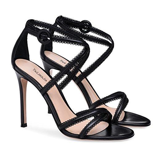 Para Altos Fiesta Zapatos Tacones Boda Black Mujer Negro Tacon Sandalias Zpl Con Alto De qga884