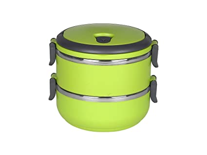 9869415c39 Buy Cosmosgalaxy 2 Layer Multiple Lock Lunch Box, Green Online at Low  Prices in India - Amazon.in