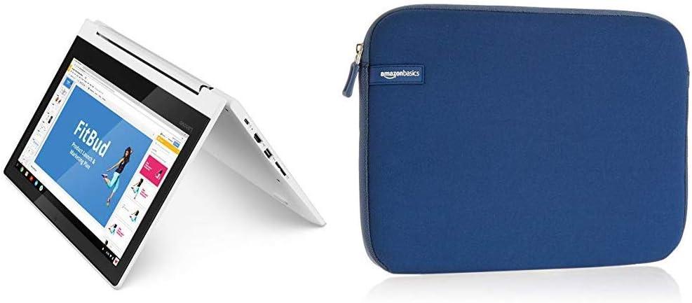 Lenovo Chromebook C330 2-in-1 Convertible Laptop, 11.6-Inch HD (1366 x 768) IPS Display, MediaTek MT8173C Processor, 4GB LPDDR3 & AmazonBasics 11.6 Inch Laptop Tablet Sleeve Case - Navy